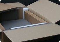 A custom-made cardboard box with foam insert lining