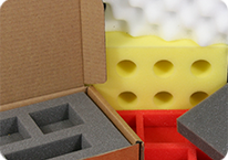 Foam packing inserts in different colours