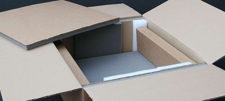 A custom made cardboard box with foam inserts