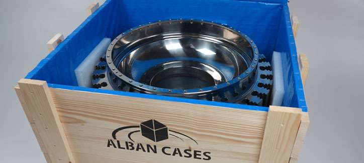 Timber crate with inner blue lining