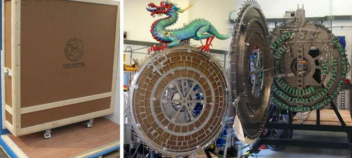 Dragon Clock and wooden packing case