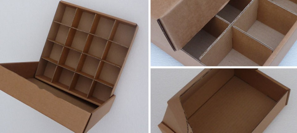 FEFCO style cardboard boxes with internal dividers
