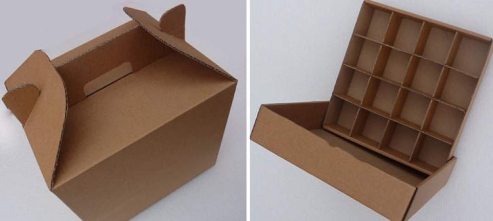 FEFCO style cardboard boxes with dividers