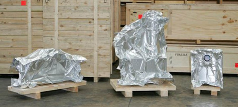 transit items wrapped in foil packaging