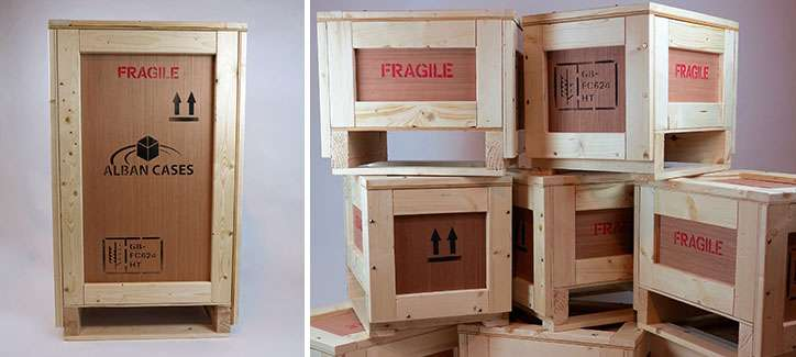 wooden packing crates and plywood shipping cases
