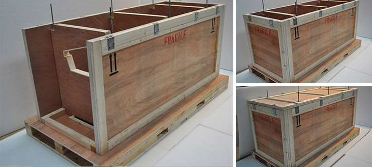 wooden packing crate with internal wooden compartments