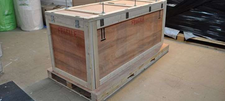 a custom-build wooden packing crate ready for shipping to destination