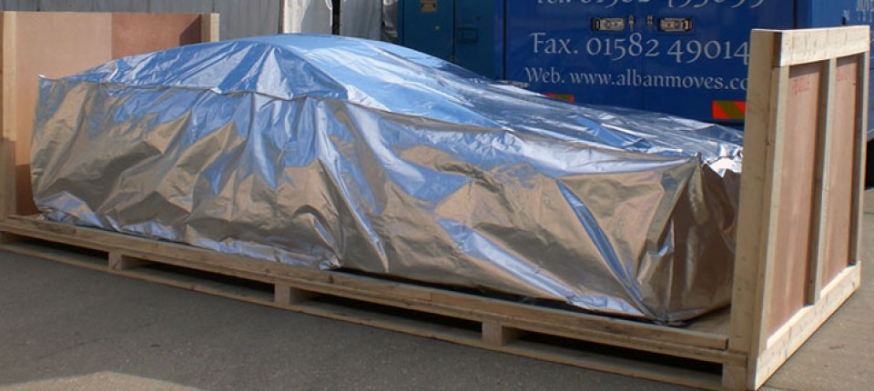 sports car with foil packaging