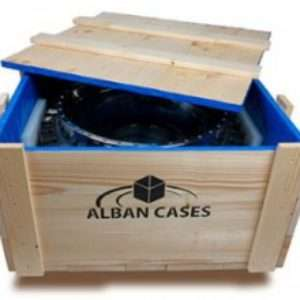 Timber crate with blue lining