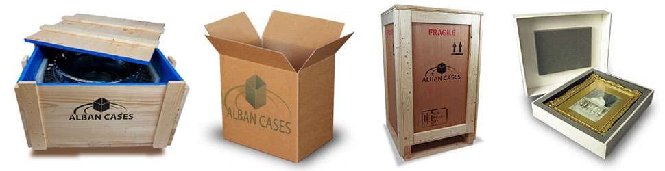 Timber packing crate, custom cardboard box, plywood case and an acid-free box