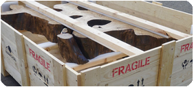 Timber packing crate containing cargo ready for shipment