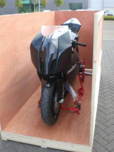 A wooden packing case built for transporting a motorbike
